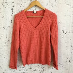 J CREW PINK V NECK CABLE SWEATER M CASHMERE BLEND